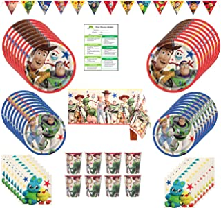Toy Story Birthday Party Supplies Pack: Big Lunch Plates, Small Dessert Plates, Cups, Napkins, Table Cover, Banner - Kit for 16 Guests