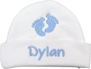 Personalized Baby boy hat with Embroidered Footprints - Preemie boy hat, Newborn boy hat, Baby Footprints hat