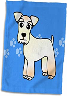 "3D Rose Cute Miniature Schnauzer Wheaten Coat - Cartoon Dog - Blue with Paw prints twl_40896_1 Towel, 15"" x 22"""