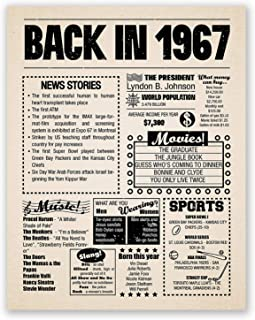 8x10 1967 Birthday Gift // Back in 1967 Newspaper Poster // 52nd Birthday Gift // 52nd Party Decoration // 52nd Birthday Sign // Born in 1967 Print