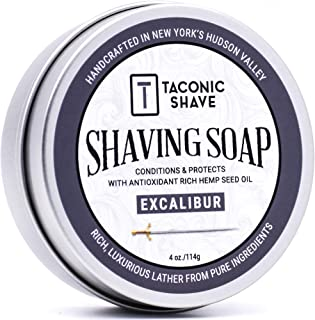 Taconic Shave Barbershop Quality Excalibur Shaving Soap with Antioxidant-Rich Hemp Seed Oil - Fresh Clean Masculine Scent