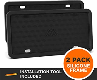 Two Peak License Plate Frame, 2 PCS Silicone License Plate Frame, Rust-Proof, Rattle-Proof, Weather-Proof License Plate Holder, Car License Plate - Black