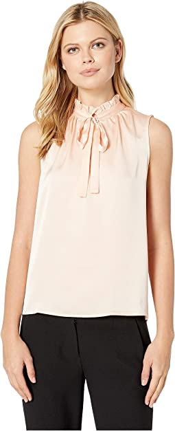 Ruffled Neck Sleeve Blouse w/ Neck Tie