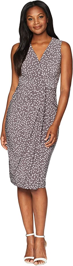 Sleeveless V-Neck Draped Dress- Stellar Dot Printed Ity