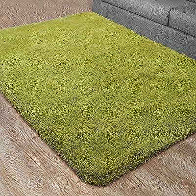 Leesentec ラグ カーペット 洗える ラグマット 絨毯 じゅうたん 多色選 滑り止め付 抗菌 防ダニ 防臭 一年中使用 ふわふわ 冷房対策 床暖房対応 折畳可能 長方形 (グリーン, 約120*200cm)