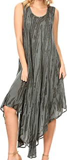 Kara Long Draped Sleeveless Marbled Caftan Dress/Cover Up