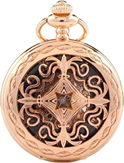 Carrie Hughes Vintage Baroque Steampunk Skeleton Mechanical Pocket Watch with Chain Gifts