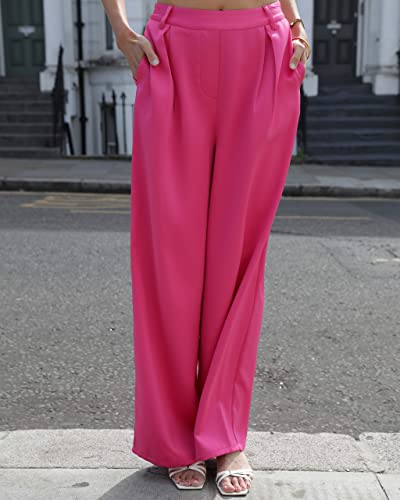 The Drop Women's Fuchsia Loose High Rise Wide Leg Pant By @leoniehanne