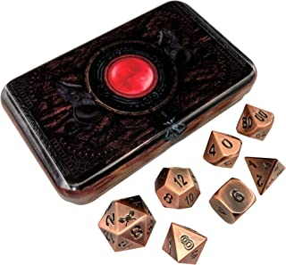 Warlock Tome Antique Brass Color, Solid Metal Polyhedral Role Playing Game (RPG) Dice Set of 7 Dice with Dice Box for Dice Storage by SkullSplitter Dice