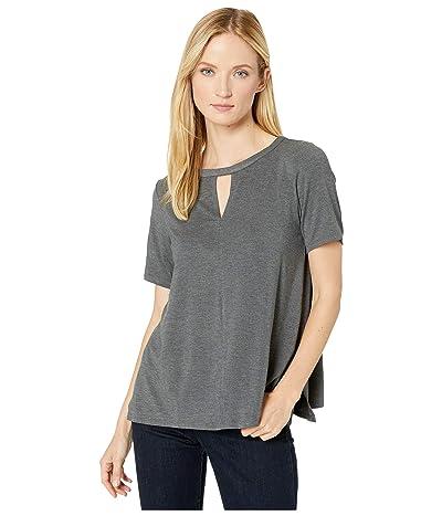 Donna Karan Modal Spandex Jersey Short Sleeve Top (Charcoal Heather) Women