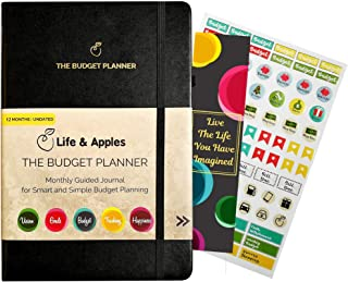 Budget Planner - Monthly Budget Organizer for Personal Finance - Bill Organizer, Expense Tracker and Accounts Book - Undated Finance Journal Notebook with Planner Stickers