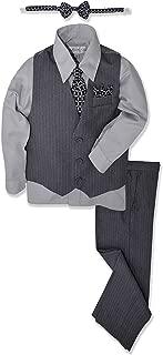 Johnnie Lene JL40 Pinstripe Boys Formal Dresswear Vest Set (18, Gray/Silver)