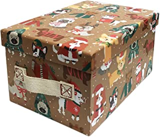 Cute Multi Dog Breeds in Festive Christmas Attire Decorative Holiday Storage Gift Box with Fabric Handles (Large, Brown)