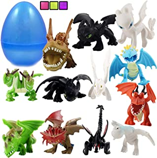 "Totem World 12 How to Train Your Dragons Figures with Jumbo Egg Storage, 1.5-2.5"" Tall Mini Figure Toys for Kids Deluxe Cupcake Cake Toppers Party Favor Decoration"