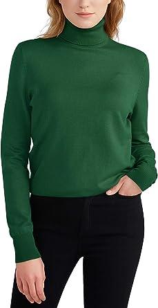 Woolen Bloom Jersey Mujer Cuello Tortuga Suéter Camiseta Manga Larga Camisa Invierno Jersey Basico Suelto Sudadera de Punto Tops Pull-Over Suéter ...
