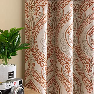 Linen Textured Curtains for Bedroom Damask Printed Drapes Vintage Linen Blend Medallion Curtain Panels Window Treatments Room Darkening for Living Room Patio Door 2 Panels 84 Inch Terrared