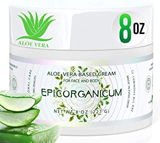 Organic Aloe Vera Moisturizing Cream Body and Face Moisturizer For Acne, Psoriasis, Rosacea, Eczema, Aging, Itchy Dry or S...