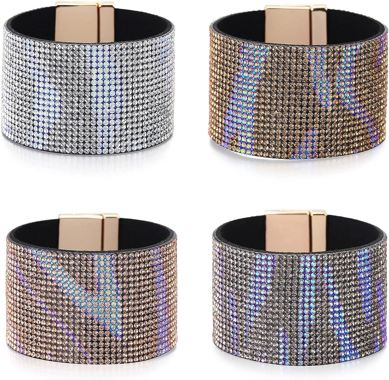 GOGNGTR 4 Pcs Bohemia Leather Cuff Bracelets Gorgeous Wrap Bracelets Men Women Magnetic Wristbands Jewelry(GN0014)