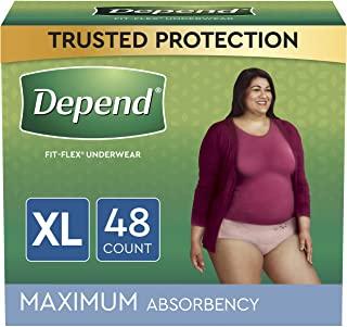 Depend FIT-FLEX Incontinence Underwear For Women, Disposable, Maximum Absorbency, Extra-Large, Blush, 48 Count (2 Packs of...