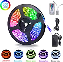 SUNNEST LED Strip Lights, 16.4ft 5050 RGB 300leds Waterproof Flexible Light Strips,12V DC Led Light Kit with 44-Key Remote Controller & Power Supply for Kitchen Bedroom and Outdoor Decoration