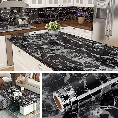 Livelynine 40CMx5M Solid Black Contact Paper Self Adhesive Vinyl Peel and Stick Wallpaper for Walls Cabinets Furniture Kitchen Counter Top Desk Table Cover Bathroom Waterproof Removable Paintable