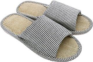 AioTio Femmes et Hommes Cotton Flax Casual Soft Light à Bout Ouvert Pantoufles Maison Confortables Et Respirables Antidéra...