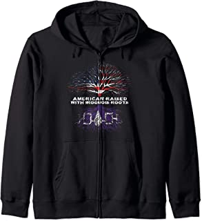 American Raised with Iroquois Roots Native Zip Hoodie