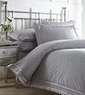 Portfolio Balmoral Broderie Anglaise Percale Duvet Cover Polycotton Bed Set, Silver, Super King Size