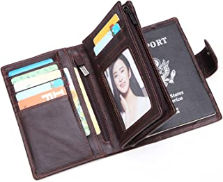 Mens RFID Leather Passport Holder Wallet for Men Multi-pocket Soft Leather Travel Wallet With 7 Credit Card Holder 1Passport Holder and 1 ID Windows (coffee)