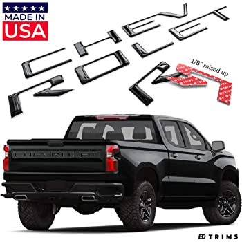 Matte Black Tailgate Inserts for Silverado 2019-2020 ABS Letters Not Decals SF Sales USA