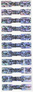 100 High Security Tamper Evident Warranty Void Dogbone Hologram Labels/Stickers w/ Unique Sequential Serial Numbering and Bar Code