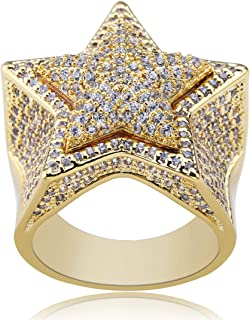 SHINY.U 14K Gold Plated Iced Out CZ Simulated Diamond Flooded 3D Star Punky Ring for Men Engagement Hip Hop Jewelry