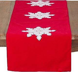 """SARO LIFESTYLE Les Fêtes Red Velvet Snowflake Design Christmas Table Runner, 16"""" x 72"""""""