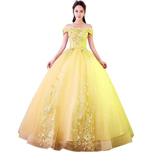 74d15bd8c59d Okaybrial Women s Sweet 16 Quinceanera Dresses Blush Pink Off Shoulder Lace  Long Prom Ball Gowns Plus