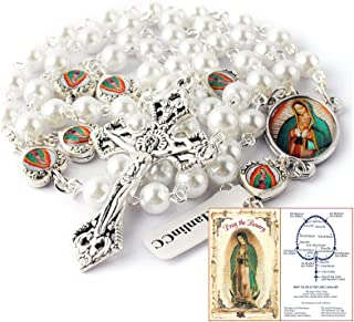 HanlinCC Glass Pearl Beads Our Lady of Guadalupe Epoxy Heart Metal Beads Rosary Necklace Pack in Velvet Bag with Pray Card