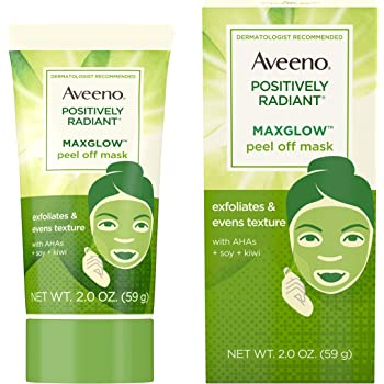 Aveeno Positively Radiant MaxGlow Peel Off Exfoliating Face Mask with Alpha Hydroxy Acids, Moisture Rich Soy & Kiwi Complex for Even Tone & Texture, Non-Comedogenic, Paraben- & Phthalate-Free, 2.0 oz