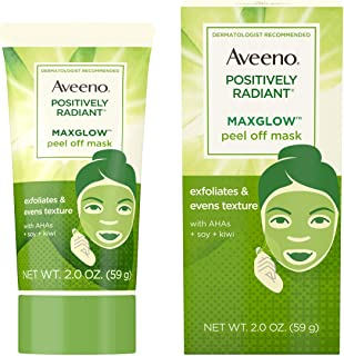 Aveeno Positively Radiant MaxGlow Peel Off Exfoliating Face Mask with Alpha Hydroxy Acids, Moisture Rich Soy & Kiwi Comple...