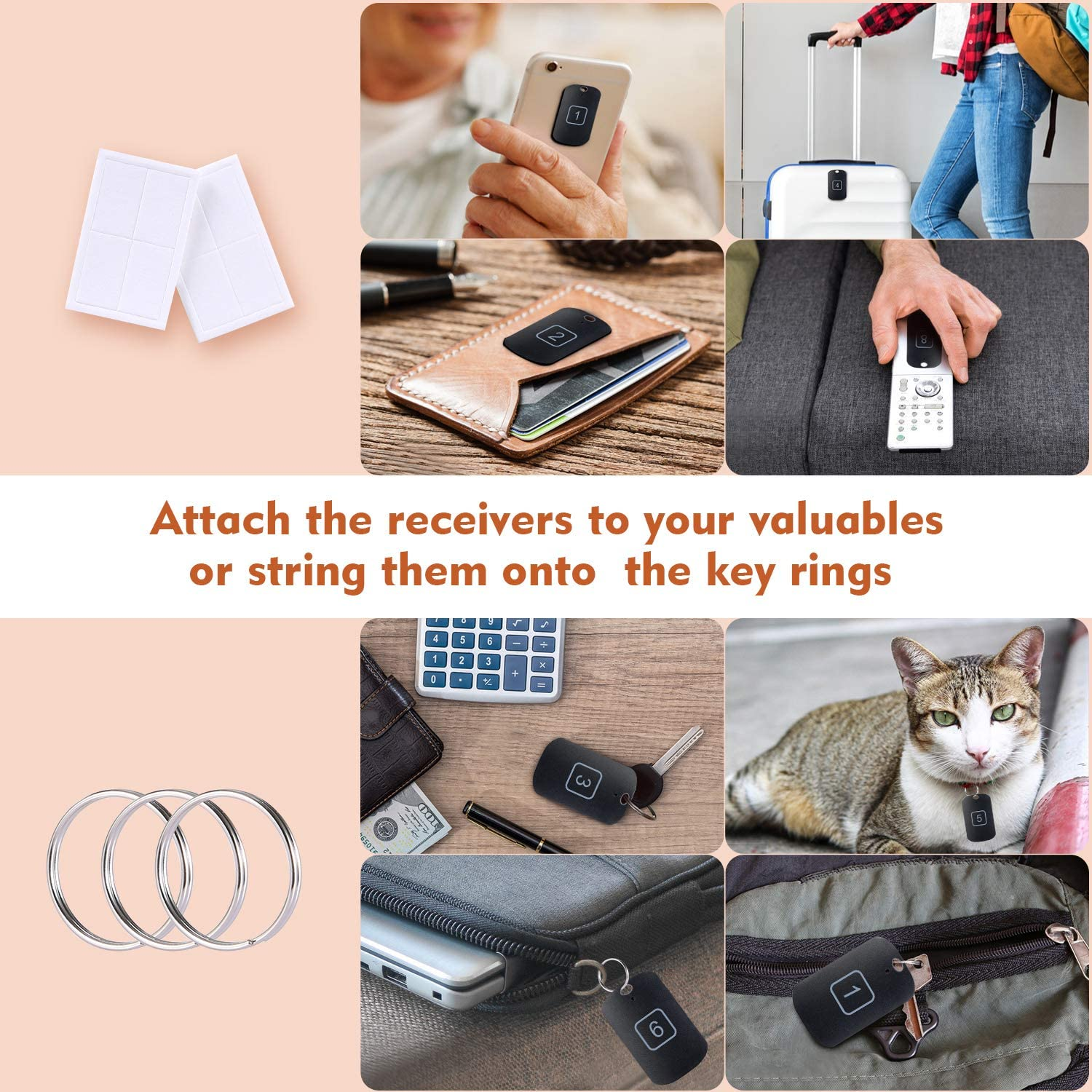 Black Key Finder RF Item Locator with 1 Transmitter with 8 Receivers Wallet and Key Wireless Item Tracker with 100ft Working Range,RF Finder Locator for Pet 8 Receivers