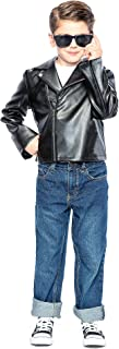 Seeing Red 50s Greaser Costume for Children, Includes a Black Faux Leather Biker Jacket and Black Sunglasses