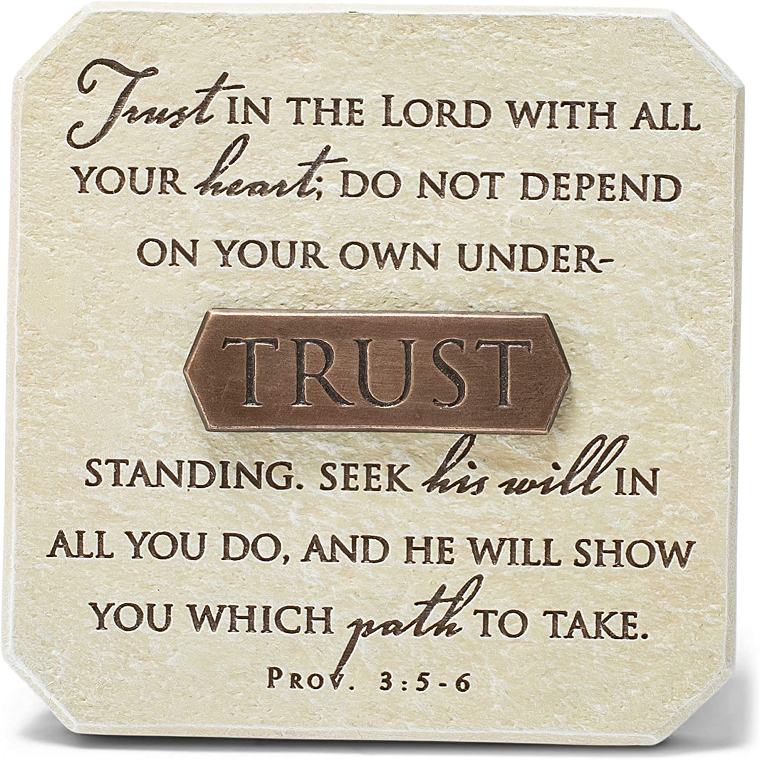 Lighthouse Christian Products Trust in The Lord Sandstone 3.75 x 3.75 Cast Stone Bronze Title Bar Plaque