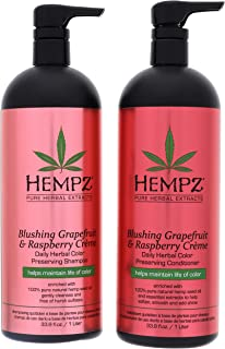 Hempz Pure Herbal Extracts Blushing Grapefruit & Raspberry Creme Herbal Shampoo & Conditioner 33.8oz to Protect Hair Color...