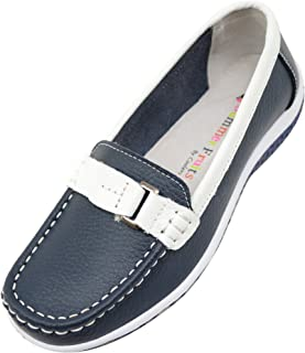 Absolute Footwear Ladies/Womens 100% Real Leather Slip On Summer/Holiday/Casual/Boat Shoes