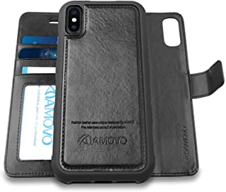 [Upgraded] AMOVO Case for iPhone Xs Max [2 in 1] iPhone Xs Max Wallet Case Detachable [Wireless Charging] [Vegan Leather] iPhone Xs Max Flip Case with Gift Box Package (XSMAX (6.5'') Black)