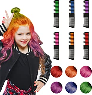 Hair Chalk, 6 Color Hair Chalk Comb Set Non-toxic Washable Temporary Hair Dye for Kids Women Best Birthday Christmas Cosplay New Year Gifts for Girls Boys(2019 Upgrade Version)