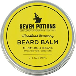 Seven Potions Beard Balm for Men — Conditioning Beard Softener to Nourish Skin, Facial Hair, and Stop Beard Itch — All-Natural, Organic, Cruelty Free — Woodland Harmony (60ml)