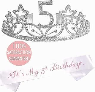 "5th Birthday Tiara and Sash  Happy 5th Birthday Party Supplies  ""It's My 5th Birthday"" White Glitter Satin Sash and Crystal Tiara Birthday Crown for 5th Birthday Party Supplies and Decorations"