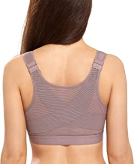 DELIMIRA Women's Full Coverage Front Closure Wire Free Back Support Bra