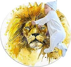 Lejonkungen lejonillustration, barn rund matta polyester överkast matta mjuk pedagogisk tvättbar matta barnkammare tipi-tä...