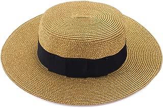 Lawliet Retro Womens Flat Top Panama Boater Dress Straw Beach Sun Hat T241
