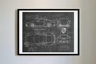 DolanPaperCo #284 Porsche 718 Cayman S 2016 Art Print, da Vinci Sketch - Unframed - Multiple Size/Color Options (17x22, Blackboard)